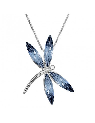 Collier Libellule bleu Cristal de...