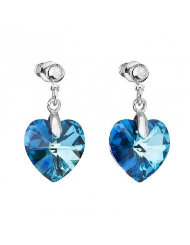 Boucles coeur bleu bermude Cristal de...